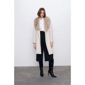 Zara coat with faux fur collar ivory 10